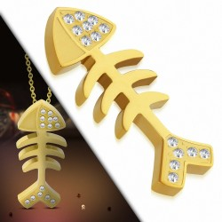 Pendentif en acier doré squelette de poisson strass
