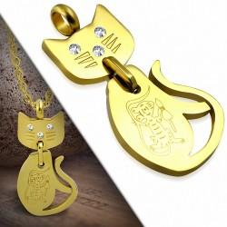 Pendentif en acier inoxydable doré chat