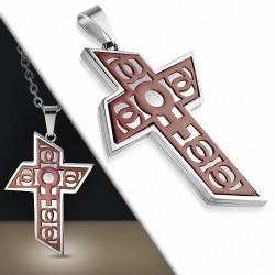 Pendentif croix géométrique symbole féminin cuivré