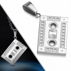 Pendentif en acier inoxydable cassette audio strass