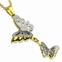 Pendentif deux papillons volants en acier doré