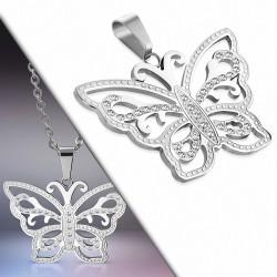 Pendentif papillon en acier inoxydable motif filigrane