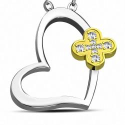 Pendentif cœur en acier avec fleur dorée strass