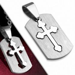 Pendentif homme plaque rectangulaire avec croix acier