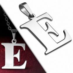 Pendentif en acier inoxydable lettre E
