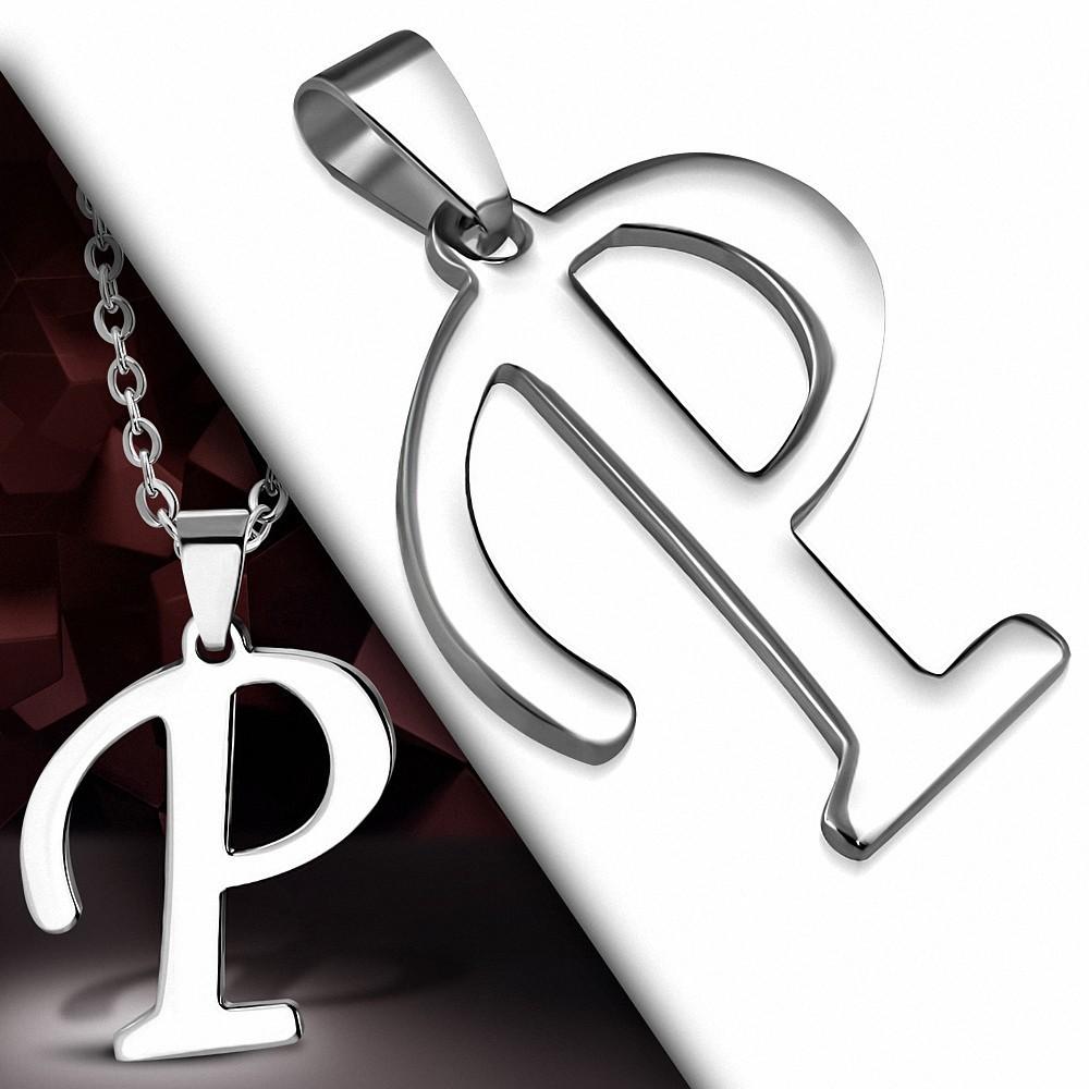 Pendentif en acier inoxydable lettre script P