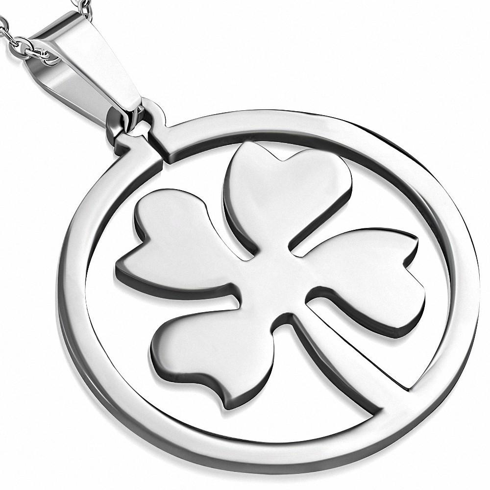 Pendentif en acier cercle avec trèfle à quatre feuilles
