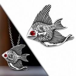 Pendentif poisson ange en acier inoxydable gemme rouge
