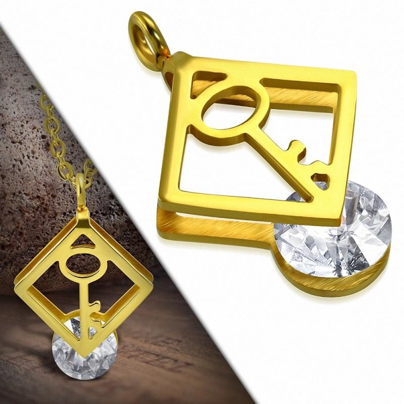 Pendentif rectangulaire acier doré cléf et gemme