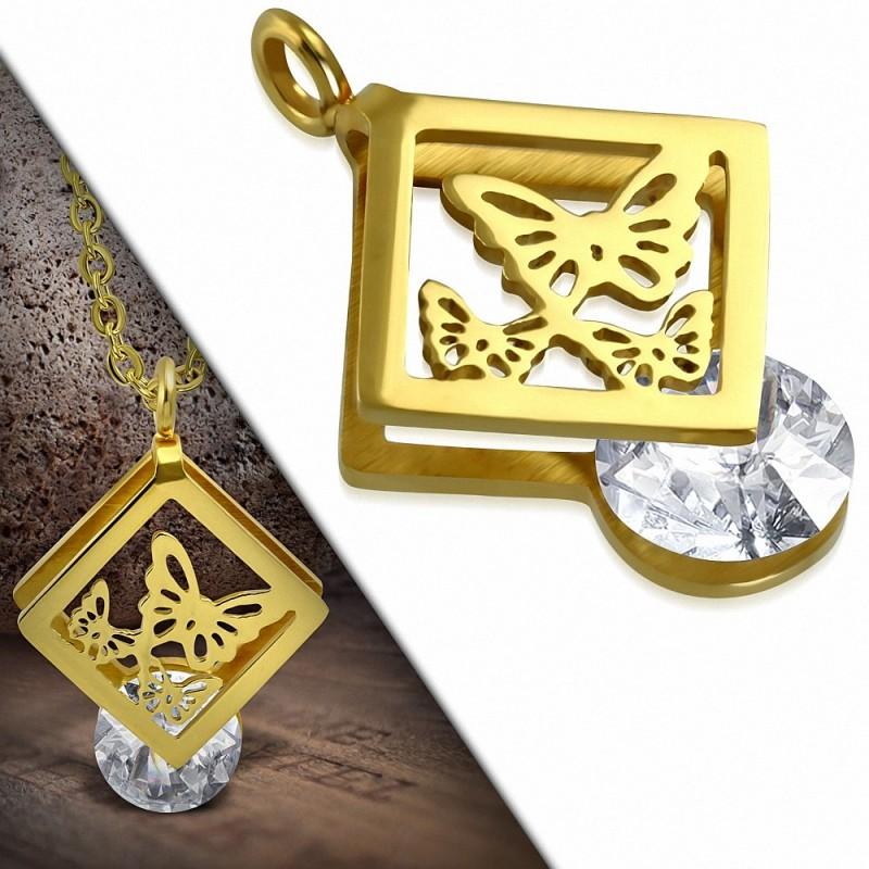 Pendentif rectangulaire acier doré papillon et gemme