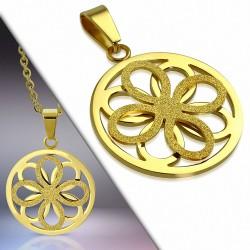 Pendentif cercle floral effet sablé en acier doré