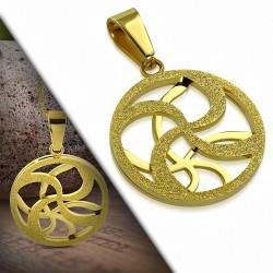 Pendentif cercle en acier doré motif floral sablé