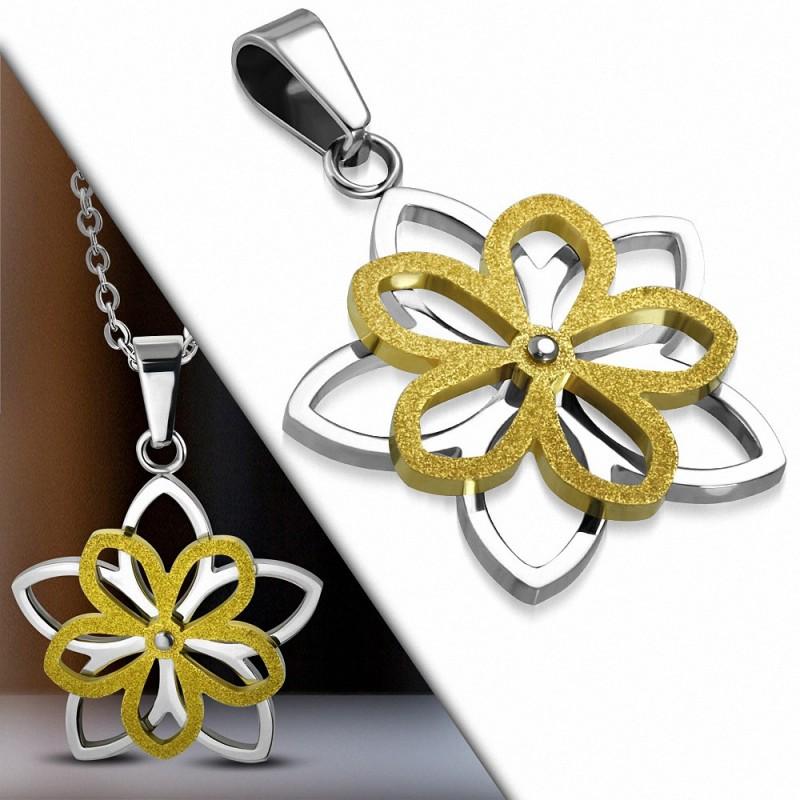 Pendentif fleur en acier bicolore argenté et doré