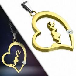 Pendentif cœur en acier doré avec le mot LOVE