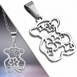 Pendentif en acier ourson motif floral