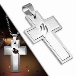 Pendentif en acier inoxydable croix avec colombe