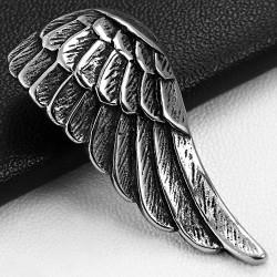 Pendentif homme en acier inoxydable aile plume