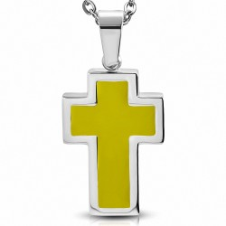 Pendentif croix latine en acier inoxydable émaillé jaune