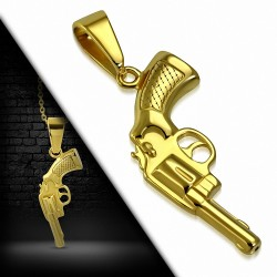 Pendentif homme en acier doré pistolet
