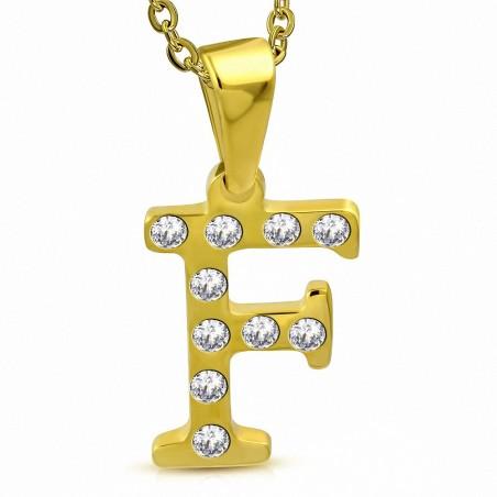Pendentif en acier doré serti de gemmes lettre F