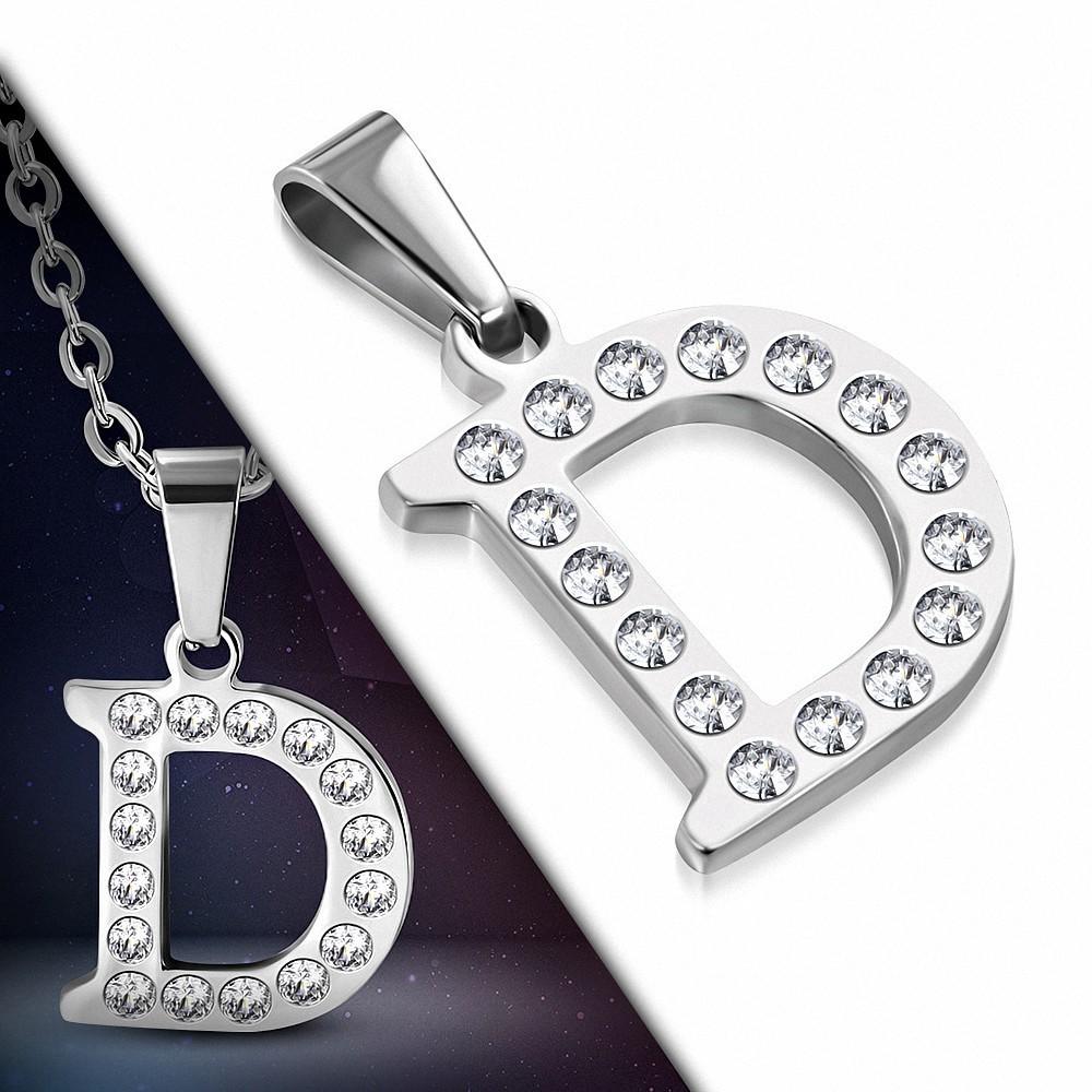 Pendentif en acier inoxydable serti de gemmes lettre D
