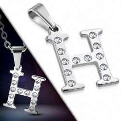 Pendentif en acier inoxydable serti de gemmes lettre H