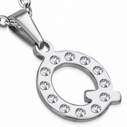 Pendentif en acier inoxydable serti de gemmes lettre Q