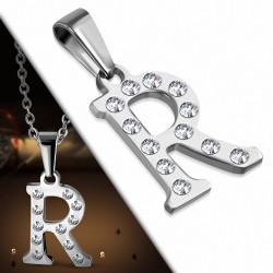 Pendentif en acier inoxydable serti de gemmes lettre R