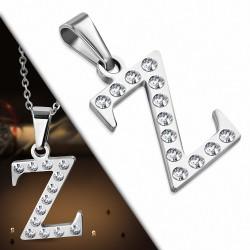 Pendentif en acier inoxydable serti de gemmes lettre Z