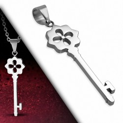 Pendentif en acier inoxydable clef motif floral