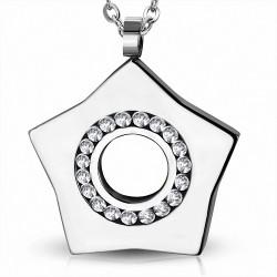 Pendentif étoile éternité multiples gemmes acier inoxydable