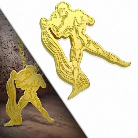 Pendentif zigne zodiaque en acier doré verseau