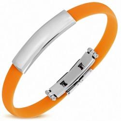 Bracelet en caoutchouc orange avec plaque acier gravable
