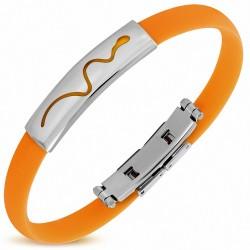 Bracelet en caoutchouc orange avec plaque acier serpent