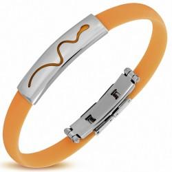 Bracelet en caoutchouc orange plaque serpent zodiaque chinois