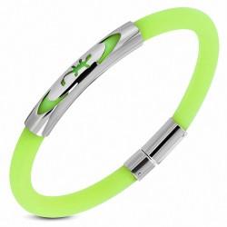 Bracelet en caoutchouc vert clair plaque acier lézard