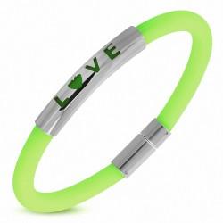 Bracelet en caoutchouc vert clair plaque acier LOVE