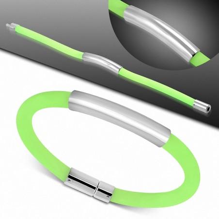 Bracelet en caoutchouc vert clair plaque acier gravable