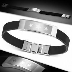 Bracelet en caoutchouc noir plaque acier avec 2 étoiles