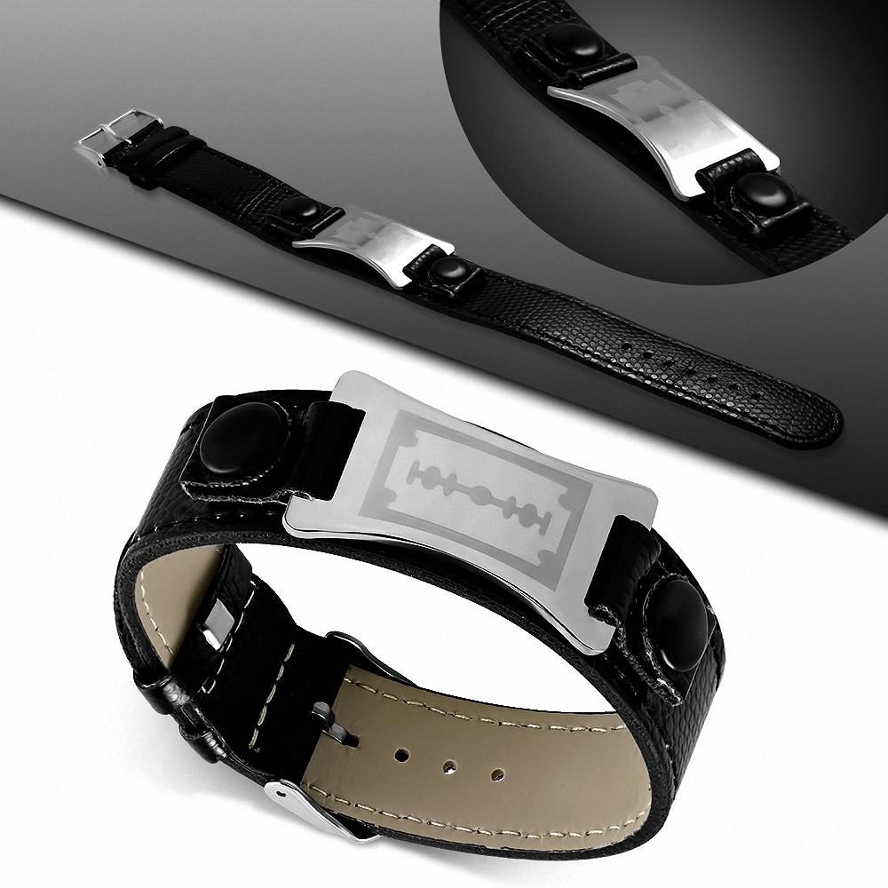 Bracelet homme cuir PVC noir plaque lame de rasoir