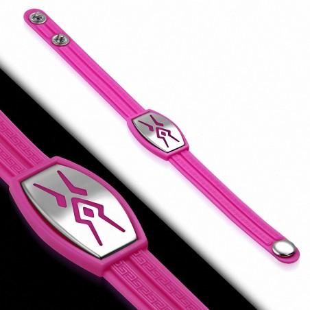 Bracelet caoutchouc rose plaque style montre tribal