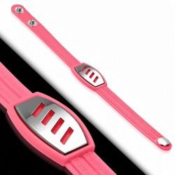 Bracelet caoutchouc rose clair plaque style montre diagonales
