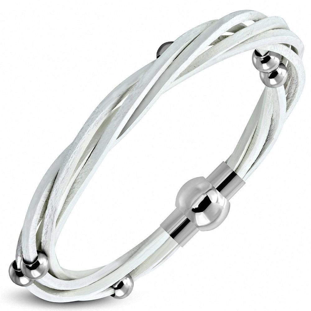 Bracelet en cuir blanc tressé avec billes en acier inoxydable