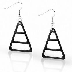 Paire de boucles d'oreille acier inoxydable triangle noir