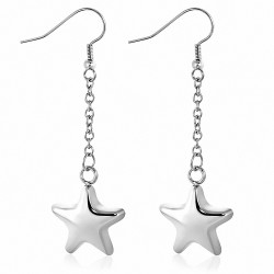 Paire de boucles d'oreille acier pendantes étoiles