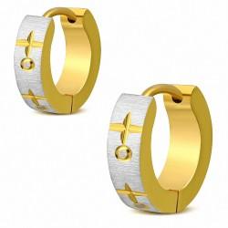 Paire de boucles d'oreille acier anneaux dorés croix satin