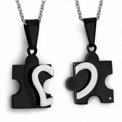 Pendentif couple 2 partie puzzle noir avec un cœur