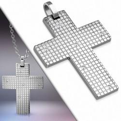 Pendentif croix quadrillée en acier inoxydable