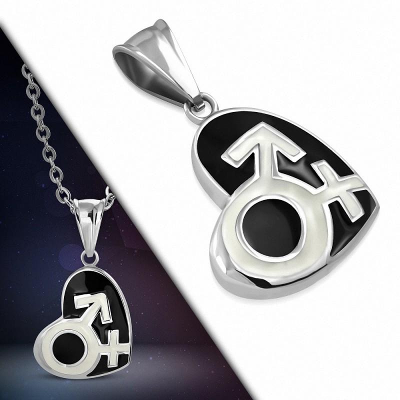 Pendentif en acier cœur noir symboles masculin et féminin