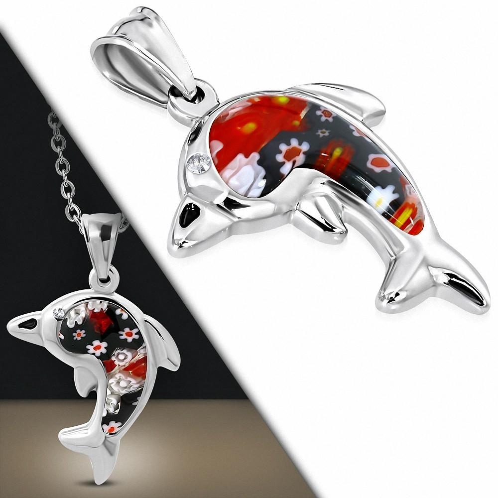 Pendentif en acier dauphin avec verre floral rouge